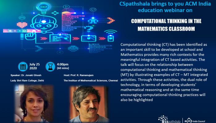 Webinar: Computational thinking in the mathematics classroom, Dr. Jonaki Ghosh